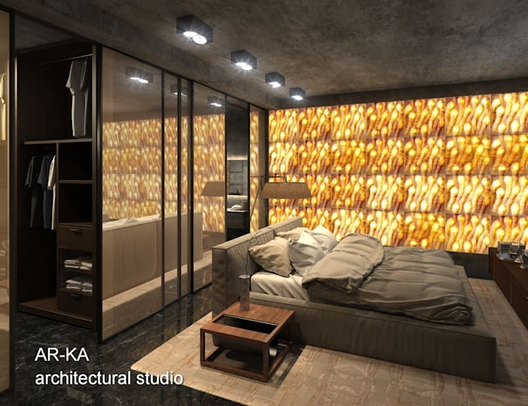 LUX Лофт на Мосфильмовской: Спальни в . Автор – AR-KA architectural studio