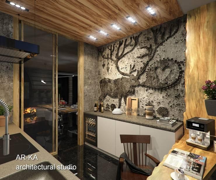 LUX Лофт на Мосфильмовской: Кухни в . Автор – AR-KA architectural studio
