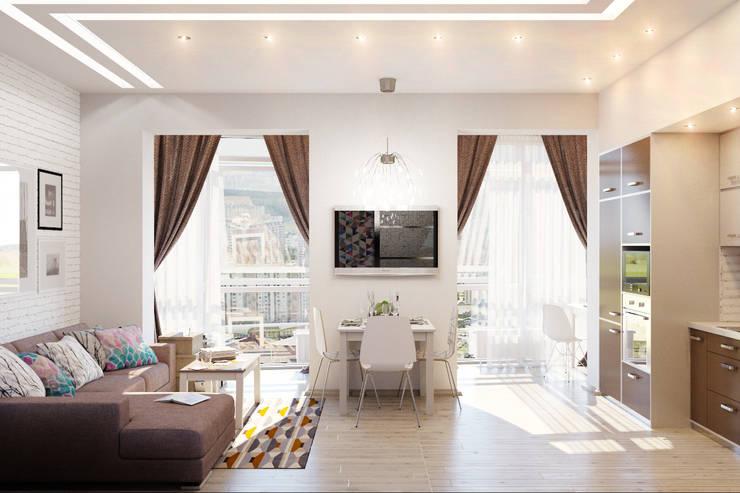 Уютная гостиная в современном стиле: Столовые комнаты в . Автор – Студия дизайна Interior Design IDEAS