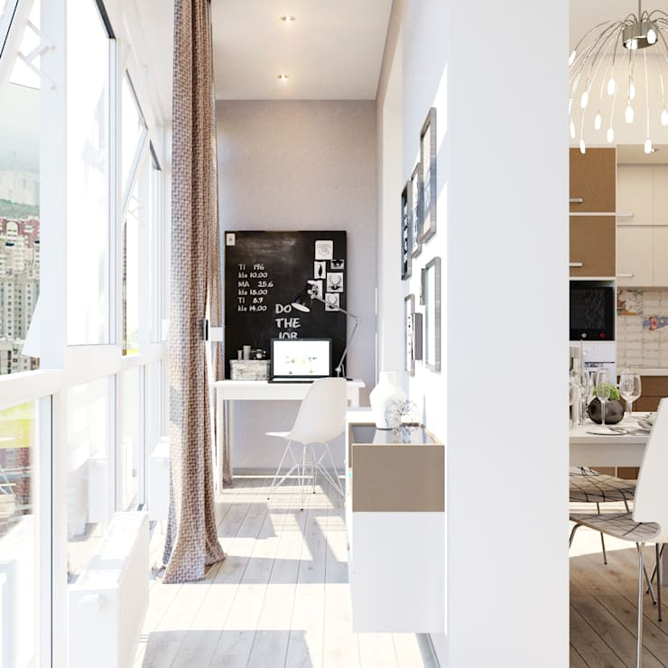 Уютная гостиная в современном стиле: Рабочие кабинеты в . Автор – Студия дизайна Interior Design IDEAS