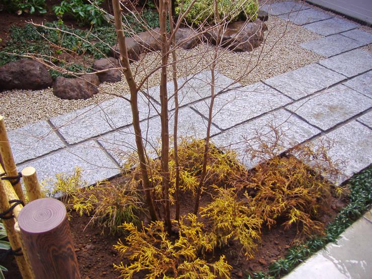 敷石テラス周りの様子: 新美園が手掛けた庭です。