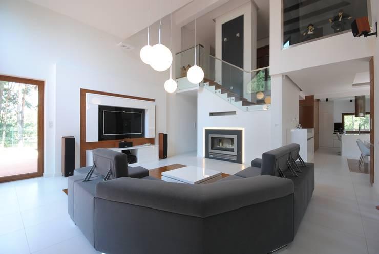 PROJEKT DOMU W ŁOWICZU 200mkw: styl , w kategorii Salon zaprojektowany przez Piotr Stolarek Projektowanie Wnętrz