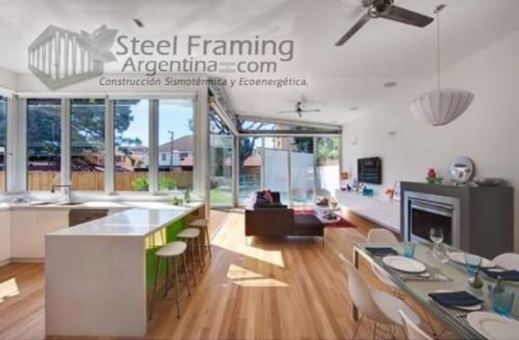 Interiores de Casas en Steel Framing: Livings de estilo  por Steel Framing Argentina