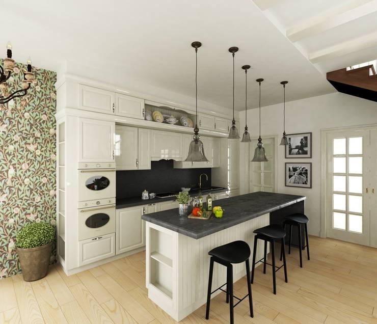 Кухня/гостиная в частном доме: Кухни в . Автор – Eclectic DesignStudio,