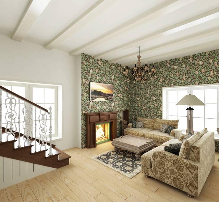 Кухня/гостиная в частном доме: Гостиная в . Автор – Eclectic DesignStudio,