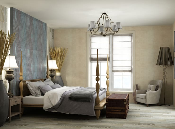 спальная комната в частном доме: Спальни в . Автор – Eclectic DesignStudio
