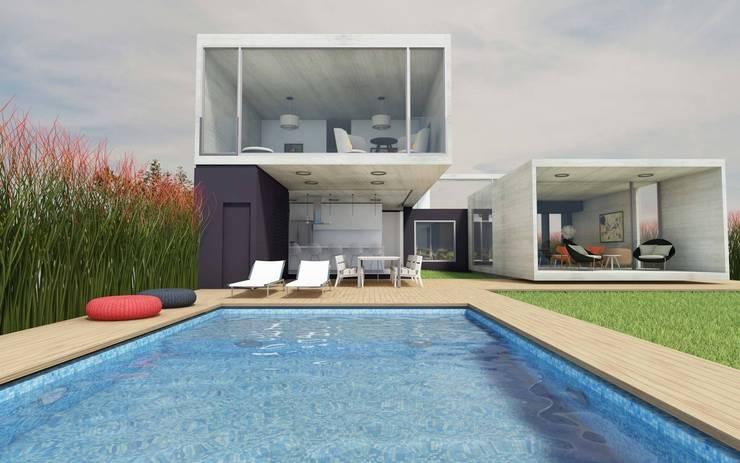 CASA TTTBN: Jardines de estilo minimalista por Najmias Oficina de Arquitectura [NOA]