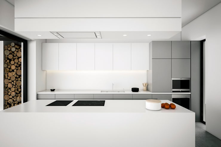 Dom podmiejski – wnętrza: styl , w kategorii Kuchnia zaprojektowany przez zwA Architekci