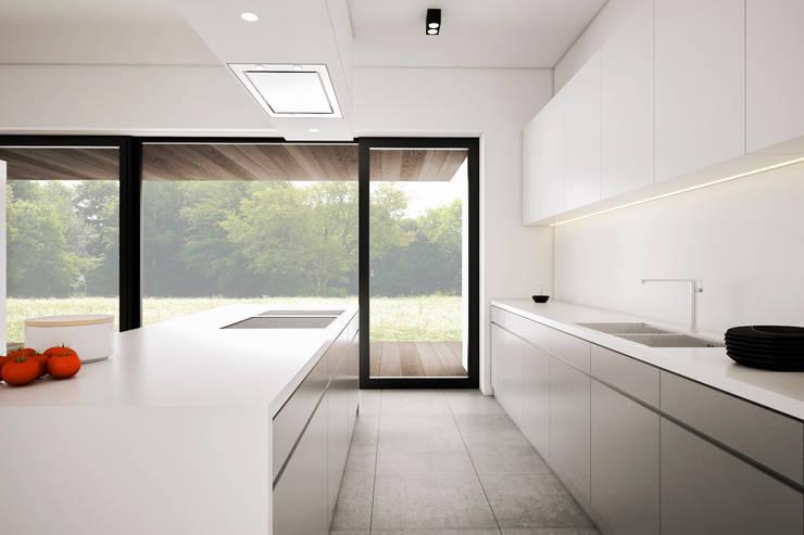 Dom podmiejski – wnętrza: styl , w kategorii Kuchnia zaprojektowany przez zwA Architekci,Nowoczesny