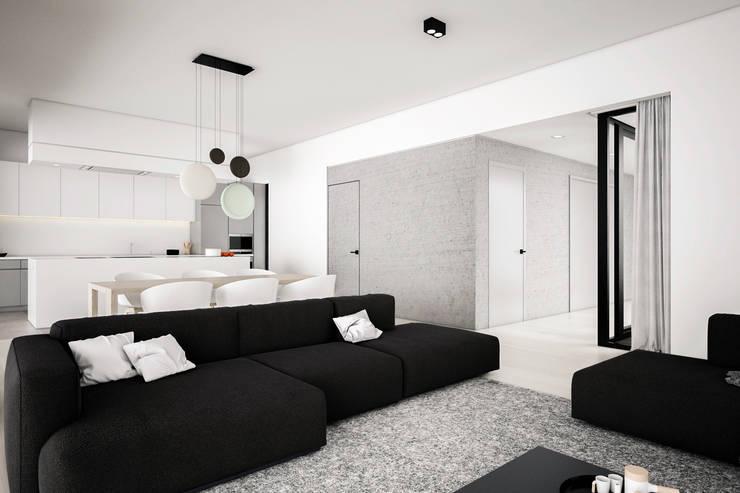 Dom podmiejski – wnętrza: styl , w kategorii Salon zaprojektowany przez zwA Architekci