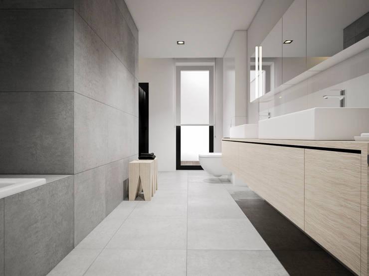 Dom podmiejski – wnętrza: styl , w kategorii Łazienka zaprojektowany przez zwA Architekci