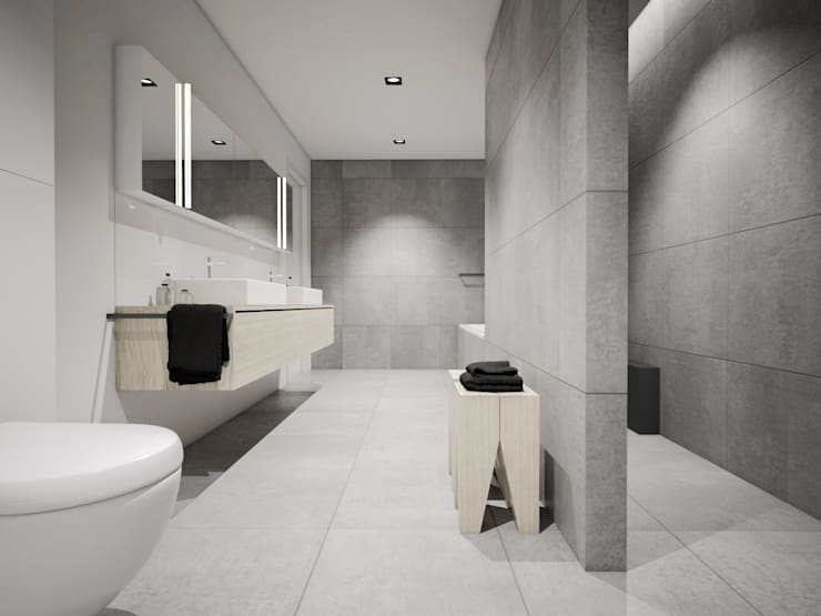 Dom podmiejski – wnętrza: styl , w kategorii Łazienka zaprojektowany przez zwA Architekci,Nowoczesny