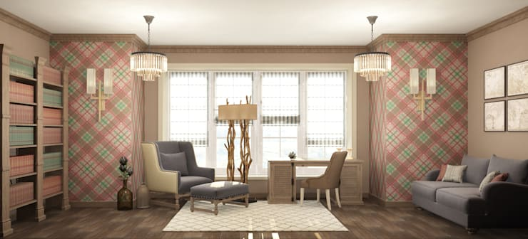кабинет в частном доме: Рабочие кабинеты в . Автор – Eclectic DesignStudio