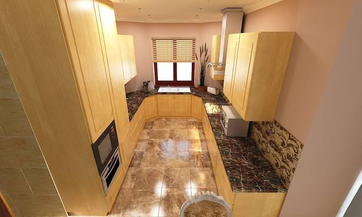 Интерьер индивидуального жилого дома для троих человек.: Кухни в . Автор – Андреева Валентина