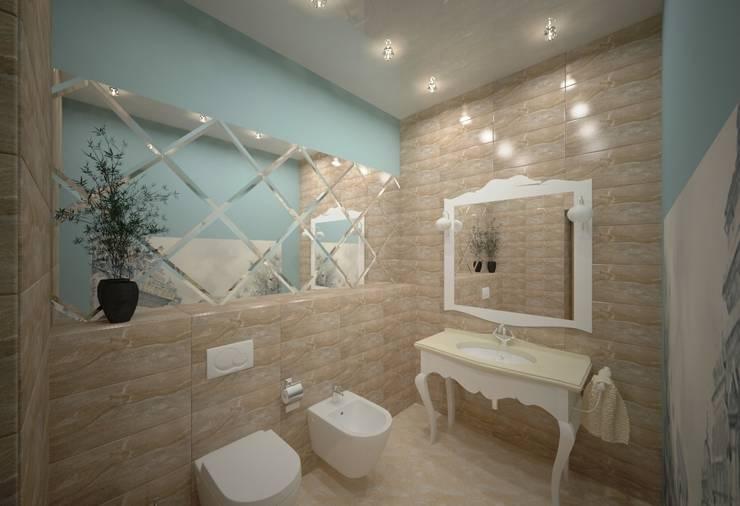 Интерьер индивидуального жилого дома для троих человек.: Ванные комнаты в . Автор – Андреева Валентина
