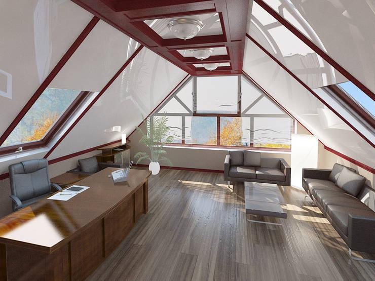 Интерьер индивидуального жилого дома для троих человек.: Рабочие кабинеты в . Автор – Андреева Валентина