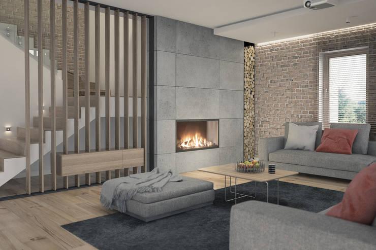 Salones de estilo moderno de Kunkiewicz Architekci Moderno
