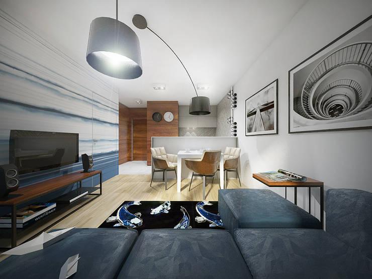 Salon z aneksem kuchennym: styl , w kategorii Salon zaprojektowany przez HUK atelier,