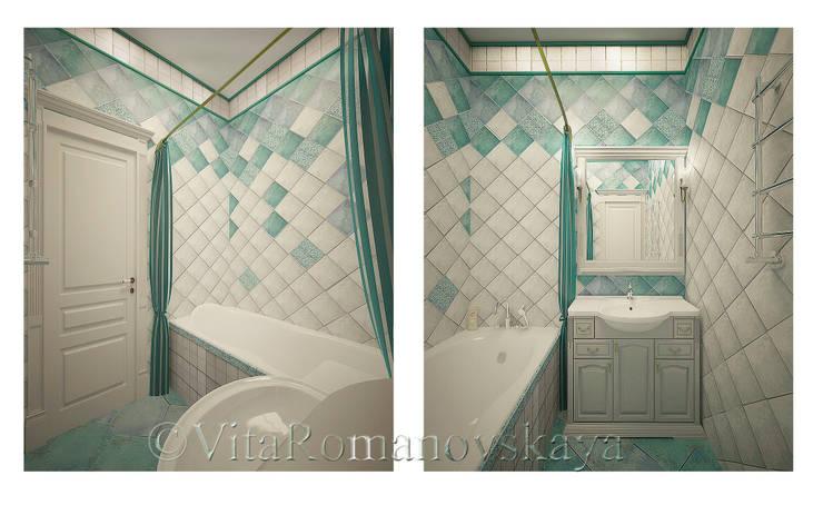 Московский Прованс: Ванные комнаты в . Автор – студия Виталии Романовской