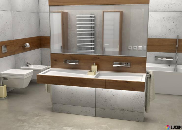 Płyty z betonu architektonicznego: styl , w kategorii Łazienka zaprojektowany przez Luxum