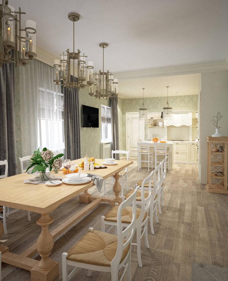 Кухня/столовая в частном доме: Столовые комнаты в . Автор – Eclectic DesignStudio