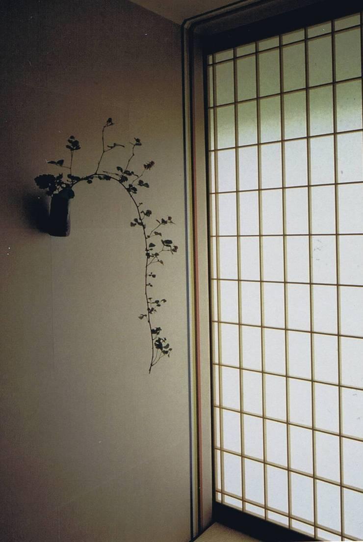 畳廊下突き当り五色(青・赤・黄・黒・白)の帯と障子: 樹・中村昌平建築事務所が手掛けた玄関&廊下&階段です。