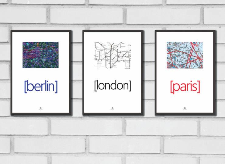 Minimalistyczne grafiki dla miłośników podróży: styl , w kategorii Salon zaprojektowany przez Nudy Nie Ma design