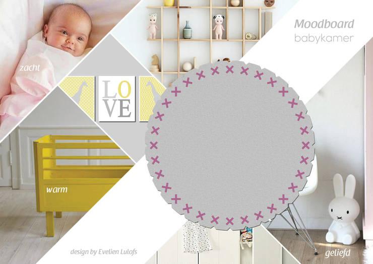 Vloerkleed Kisses in de babykamer:  Kinderkamer door Evelien Lulofs