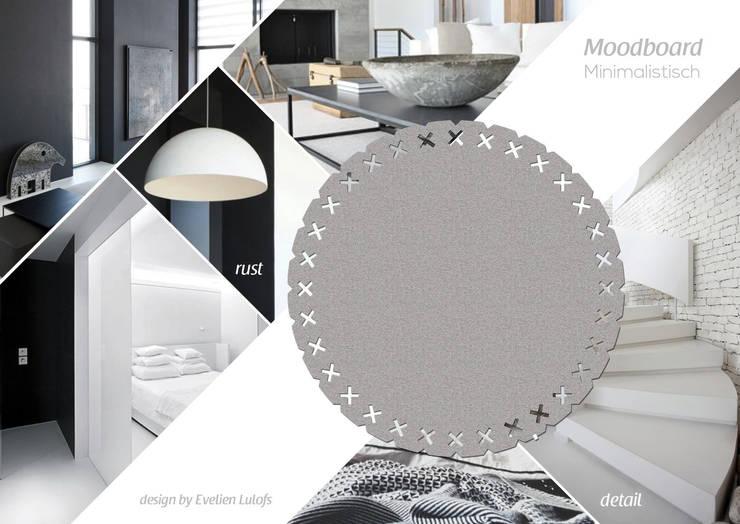 Vloerkleed Kisses in een minimalistisch interieur:  Woonkamer door Evelien Lulofs