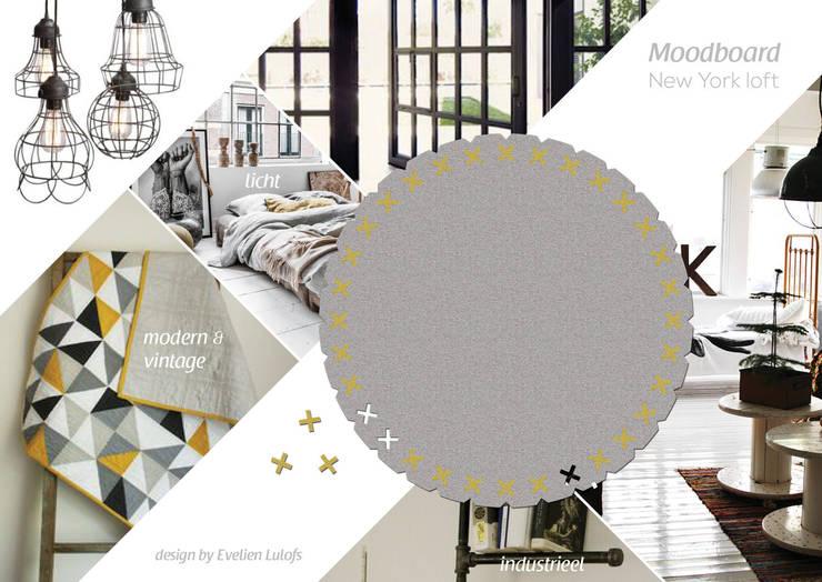 Vloerkleed Kisses in een industrieel interieur:  Slaapkamer door Evelien Lulofs