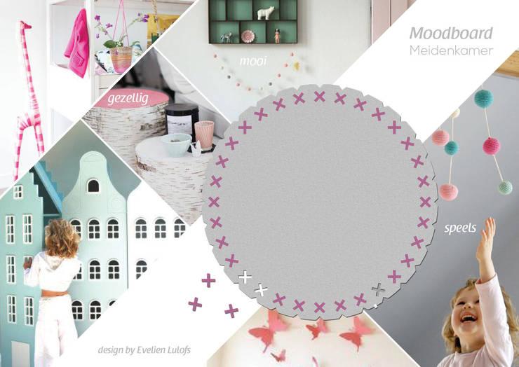 Vloerkleed Kisses in de slaapkamer van de meiden:  Kinderkamer door Evelien Lulofs