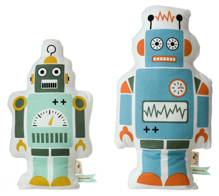 Hippe robot kussens van Ferm Living:  Kinderkamer door De Kleine Generatie