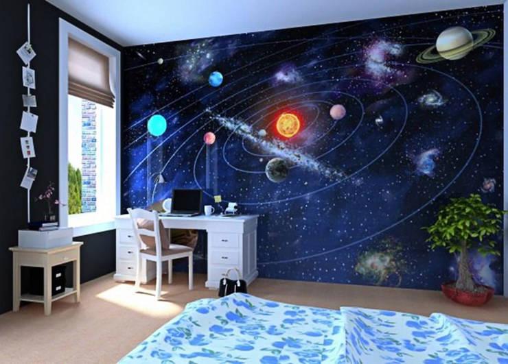 Fotobehang: Zonnestelsel:  Studeerkamer/kantoor door kleurmijninterieur.nl, Modern