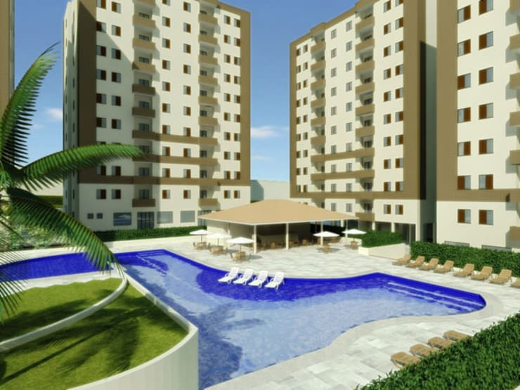 Paisagismo de Condominios: Piscinas ecléticas por Roncato Paisagismo e Comércio de Plantas Ltda