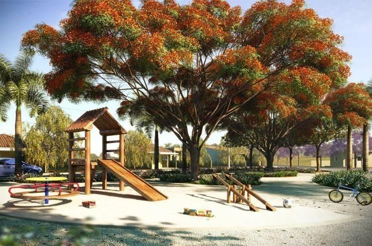 Paisagismo de Condominios: Jardins campestres por Roncato Paisagismo e Comércio de Plantas Ltda