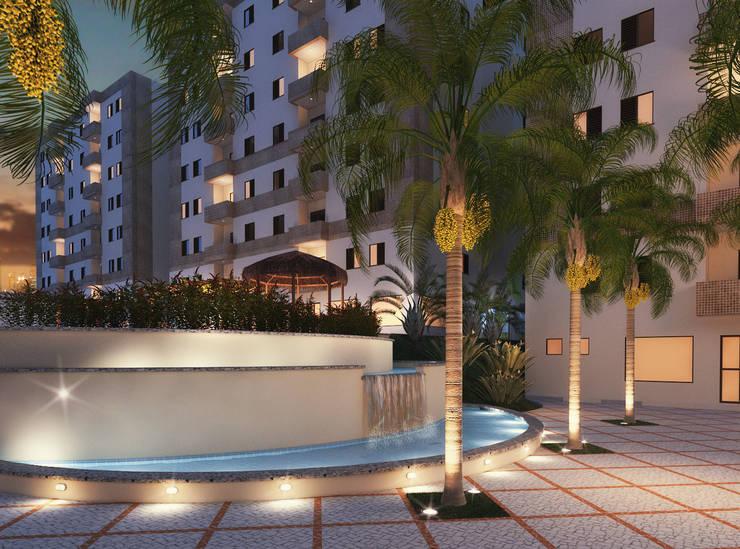 Paisagismo de Condominios: Jardins tropicais por Roncato Paisagismo e Comércio de Plantas Ltda