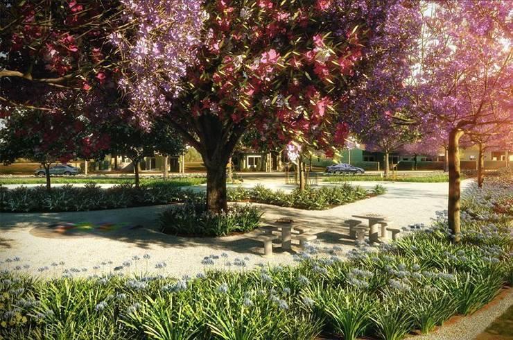 Praça de jogos: Jardins campestres por Roncato Paisagismo e Comércio de Plantas Ltda