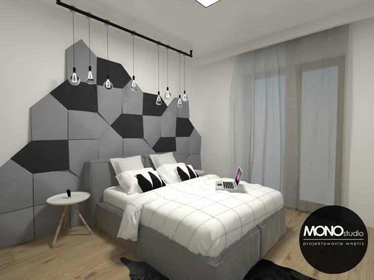 Nowoczesna sypialnia z akcentem: styl , w kategorii Sypialnia zaprojektowany przez MONOstudio