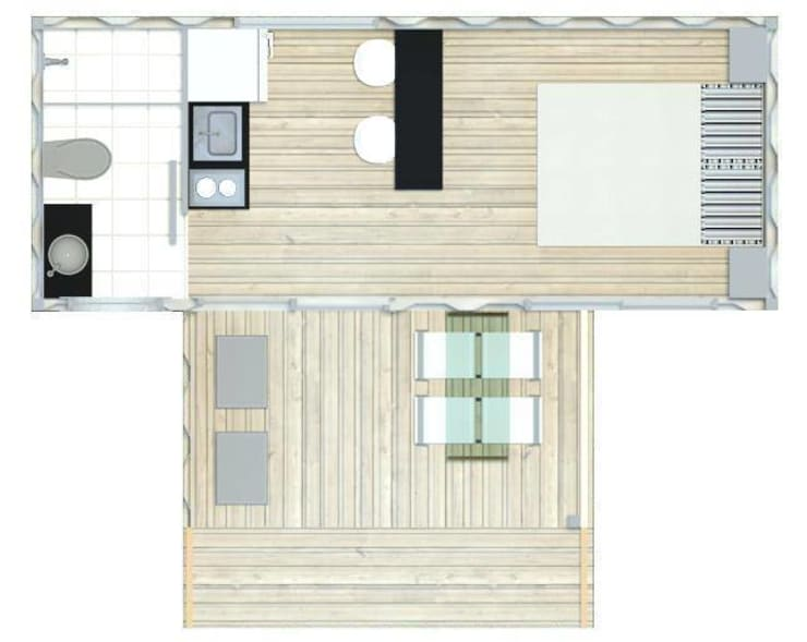 Planta Baixa - BOX COMPACTO – módulo1 : Casas  por SustentARQ Studio,Industrial