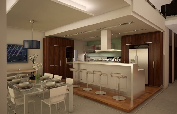 Casa Satélite 1: Cocinas de estilo moderno por Diseño Distrito Federal