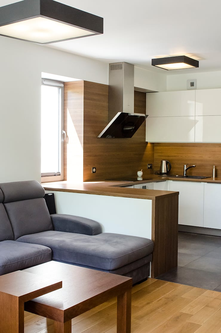 Salon_Mieszkanie_Promenada Solna_Kielce_Kuchnia_Pracownia A: styl , w kategorii Kuchnia zaprojektowany przez Pracownia A,Nowoczesny