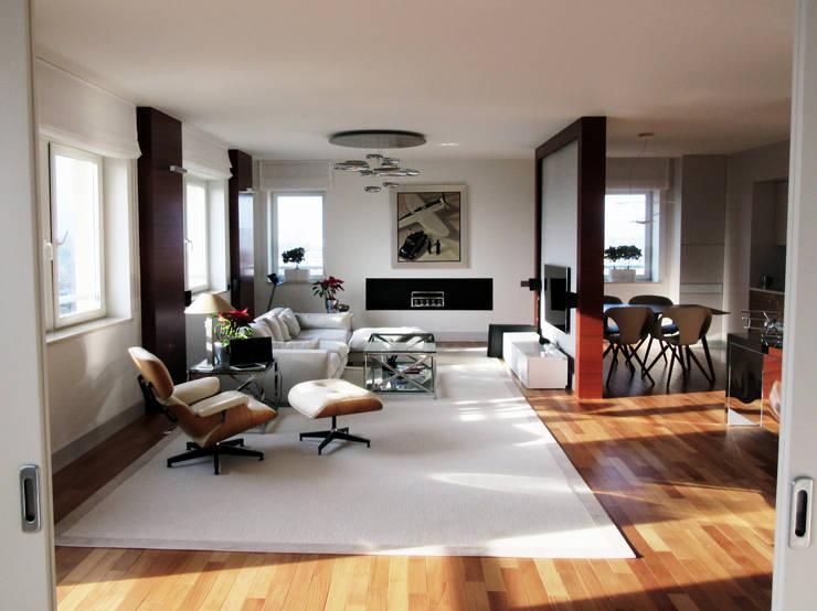 przestrzeń dzienna z biokominkiem: styl , w kategorii Salon zaprojektowany przez JOL-wnętrza
