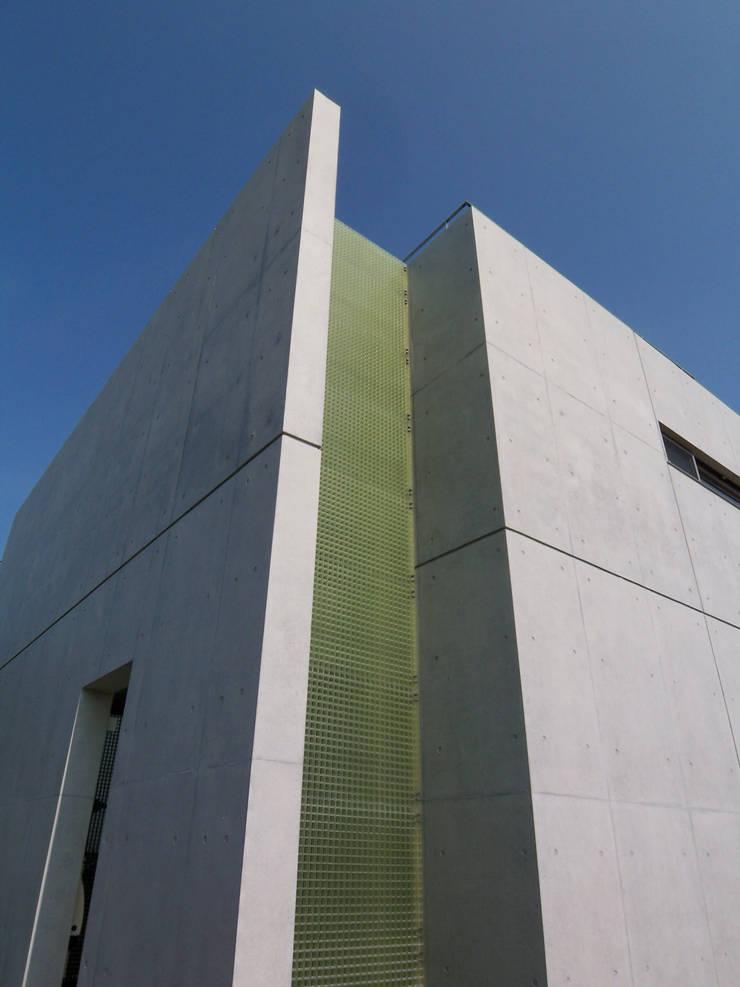 外観、トイレ風呂周り外に施したFRP格子: 株式会社アルフデザインが手掛けた家です。,モダン