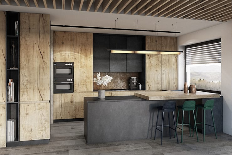 Bielsko-Biała, dom - 230m2: styl , w kategorii Kuchnia zaprojektowany przez razoo-architekci