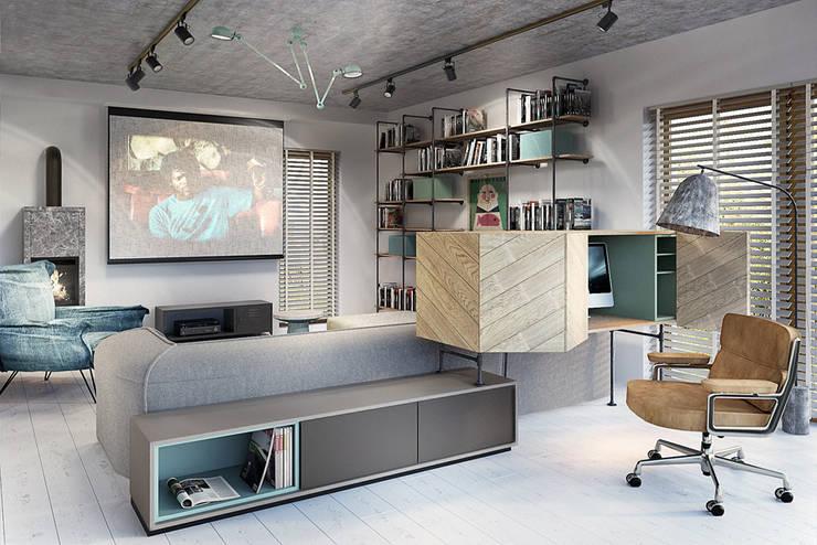 Livings de estilo industrial por razoo-architekci