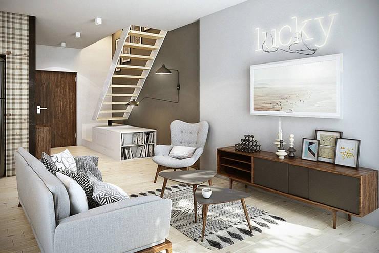 Warszawa / Praga, mieszkanie dwupoziomowe 62m2: styl , w kategorii Salon zaprojektowany przez razoo-architekci,