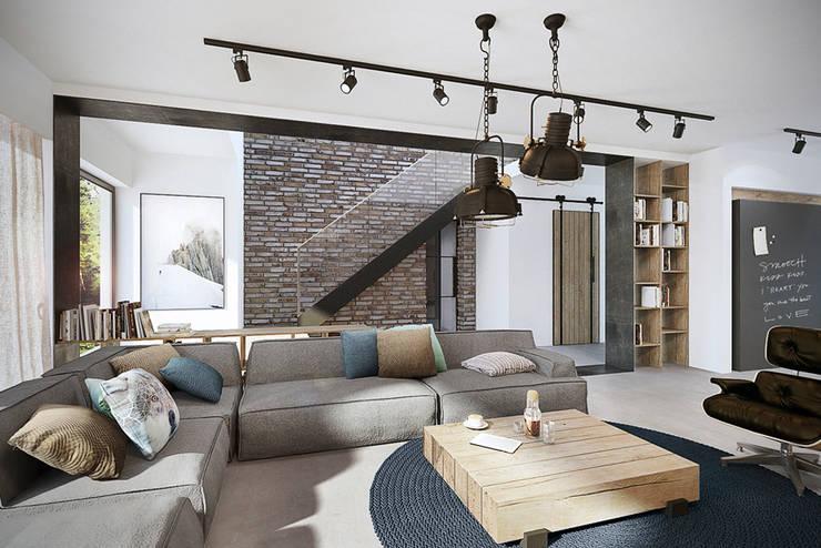 Mokronos k. Wrocławia, dom-163m2: styl , w kategorii Salon zaprojektowany przez razoo-architekci,