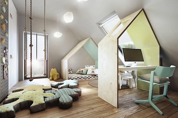 Mokronos k. Wrocławia, dom-163m2: styl , w kategorii Pokój dziecięcy zaprojektowany przez razoo-architekci,