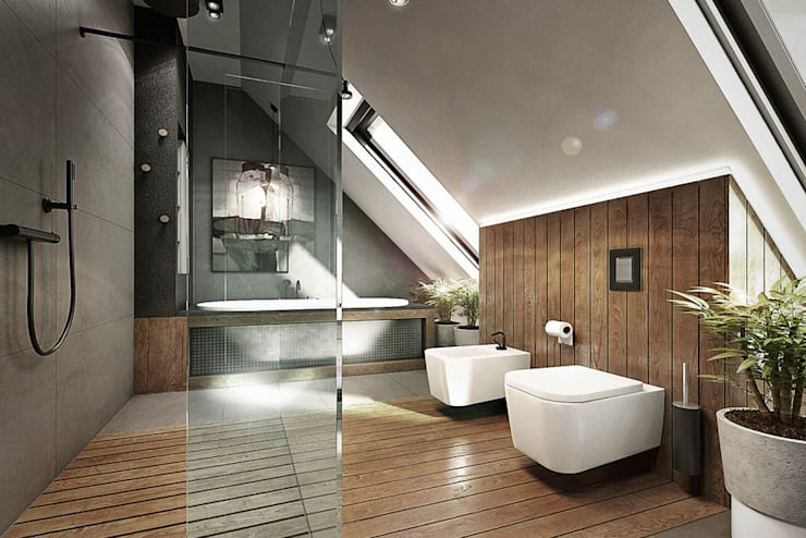 Mokronos k. Wrocławia, dom-163m2: styl , w kategorii Łazienka zaprojektowany przez razoo-architekci,