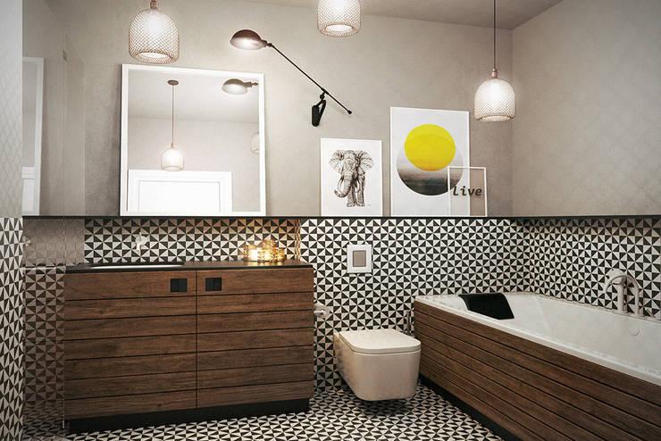 Warszawa / Praga, mieszkanie dwupoziomowe 62m2: styl , w kategorii Łazienka zaprojektowany przez razoo-architekci,
